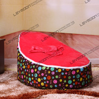 Wholesale kids beanbag chairs pouffe cover with smile prints velvet baby bean bag via China post air mail without filling