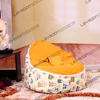 Wholesale kid bean bag pouffe cover with cute prints infant beanbag via China post air mail without filling