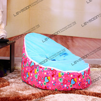 Wholesale kids bean bags pouffe cover with love prints infant beanbag via China post air mail without filling