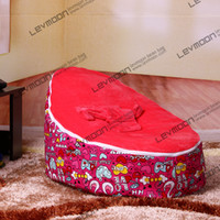 Wholesale kids beanbag pouffe cover with cute prints velvet baby bean bag via China post air mail without filling