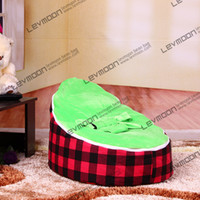 Wholesale beanbags kids pouffe cover with grid prints infant bean bag via China post air mail without filling
