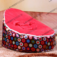 Wholesale children beanbag pouffe cover with circle prints baby bean bag via China post air mail without filling