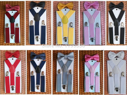Wholesale NEW Arrival Elastic Y back Suspender and Bow Tie Sets for Boys Girls Kids
