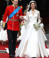 Floor-Length wedding dresses 2011 - 2011 Royal Wedding Dress Kate Dress Long Sleeve Lace over Satin Monarch Train Bridal Gowns