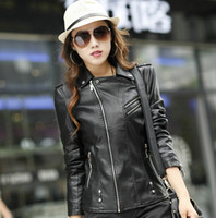 america leather leathers - Real Issuing New Large Size Women Fashion Handsome Motorcycle Leathers Jacket Supply Sell Sleeved In Europe And America