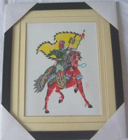Wholesale Chinese Handicraft Scissor cut Guan Yu Folk Art Colourful Paper cut Picture Frame