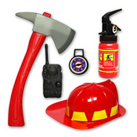 Wholesale kids firefighter toys Simulation fire rescue toy set fireman helmet fire extinguisher boys toy