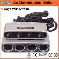 all'ingrosso car cigarette lighter with switch-All'ingrosso-auto presa accendisigari Splitter 4 modi con interruttore DC 12V / 24V Caricabatteria Auto Car Power Adapter Automotive Electronics