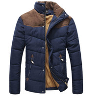 Wholesale Men s Colorant Match Brief Thermal Wadded Jacket Thickening Cotton padded Jacket Winter Slim Jacket MF WCF