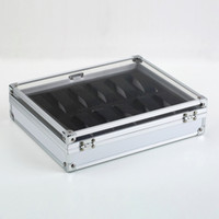 aluminium watch case - Professional Grid Slots Jewelry Watches Display Storage Square Box Case Aluminium Suede Inside Container