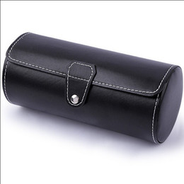 Wholesale-Free shipping Hot Sale cylindrical black pu leather watch cases travel watch cases