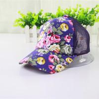 mesh snapback hats - Summer Sun Visor Hat Fashion Style Flowers Women Mesh Sports Baseball Cap Floral Hats For Women Snapback Caps New Gorras