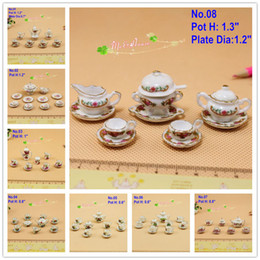 Wholesale Chinese Porcelain Tea Cups Wholesale - Wholesale-1:12 Scale Lot Dollhouse Miniatures chinese Porcelain Set Coffee Cups Tea Cake Plates