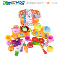 baby gift baskets free shipping - creative plastic educational model toy simulation fruit vegetable basket pretend play kitchen baby kids gift pc