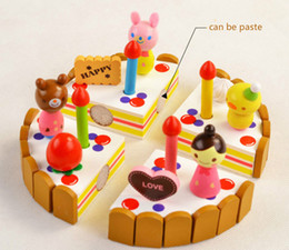 Wholesale Children mother garden Kitchen toys Girl Assembled birthday gift strawberry cake wooden toy