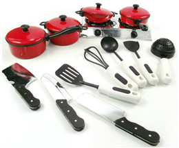 Wholesale Red tableware set of affordable house simulation kitchen utensils year old baby toys kitchen toys
