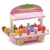 Wholesale V Fantasy Pink Cute Wood Mother Garden Strawberry Ice Cream Cart Stand Pretend Play Toy Set