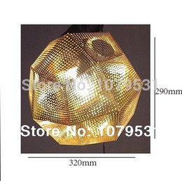 Wholesale-[Diameter 32CM]Tom Dixon Etch Shade Suspension Lamps,Golden Silver Stainless steel Shade E27 Pendant Lights