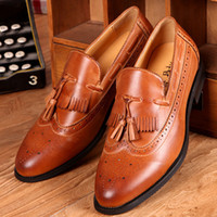 Cheap Wholesale-Noble Charming Quality Vintage Leather Tassel Brogues Oxfords Mens Slip-on Fashion Dress Shoes British Korean Style Trendy New
