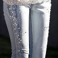 beaded ladies pants - Lady Jeans Pants Beaded Pencil Pants Denim Jeans Women Trousers Light Blue Size S XXL