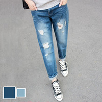 100 cotton jeans for women - ew Spring And Summer Loose Cotton Ripped Boyfriend Jeans For Women Plus Size Women Clothing