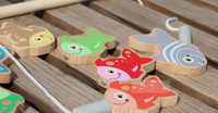 Wholesale Wooden magnetic fishing toy with fish and fishing rods gift for kis and children Learning amp education toys