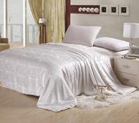 Cheap Wholesale-New Fashion Silk quilt Duvet Comforter, Queen size 1.5x2.0 M,Quilted Cotton Bedspread, White Beige Pink color,Warm & Soft