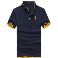achat en gros de vêtements de travail de gros-Vente en gros-2015 New Summer Collier Homme Polo Homme Vêtements Solid Hommes Polo Shirts Business Casual Poloshirt Cotton Sportswear Respirant