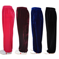 Wholesale gold velvet tai chi clothing tai chi practice pants fall and winter bloomers Morning Exercise pants