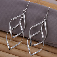Cheap Wholesale-Hot long leaf dangle Drop Earrings fashion 925 silver vintage free shipping sterling wholesale women wedding jewelry SE168