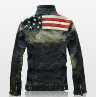 american flag suit jacket - New Mens American Flag Suit Jeans Jacket PU Leather Patchwork Vintage Washed Distressed Antique Denim Jacket For Men AY108