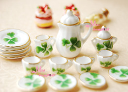 Wholesale scale Toy Dollhouse Miniature Green Leave Porcelain Tea Coffee Dinner Set For Dolls