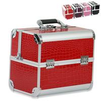 aluminum beauty box - EMS New Women Professional Aluminum Cosmetic Case Large Capacity Makeup Organizer Beauty Case Cosmetic Box