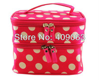 double vanity - Double Layer Zipper Women Cosmetic Box Vanity Case Makeup Bag Purse Toiletry Kit Handbag Colors