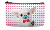 bag moustache - Pink Dot cute Tiny Chihuahua Moustache Red Bow Tie Pattern Print Custom Small Cosmetic Bag Wristlet hand bag