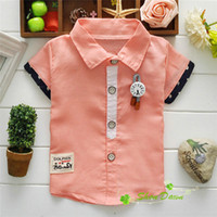 baby boy pendants - Summer Baby Boys Solid Color Pendant Fashion Short Sleeve Shirts V1586