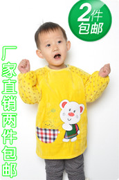 Wholesale Baby gowns waterproof pure cotton corduroy crystal goatswool anti dressing baby aprons children for gown eating bib