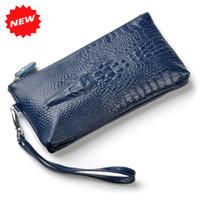ans bag - Hot D Crocodile Genuine Leather Wristlet Day Clutch Evening Bags Fashion Women Mobile Phone Bag Coin Purse ANS SL