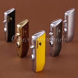 Wholesale-COHIBA Accessories Pocket Quality Metal Snake Mouth Shape Butane Gas Windproof 3 Torch Jet Flame Cigarette Lighter W Punch