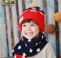 winter hat scarf and glove set - Winter New Arrival children hats scarf set warm child hats boy and girls caps lovely star style baby caps for years