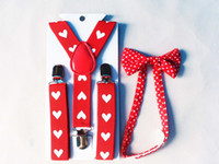 Cheap Wholesale-Free Shipping 2015 New Fashion Kids Children Girls Red Heart Print Bow Ties And Suspenders Braces Sets For Boys