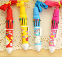 Wholesale color balck ren blue green cartoon cute automatic ballpoint pen stationery for office kids student gift for teacher
