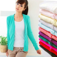 Wholesale New Fashion Autumn Winter Cashmere The Cardigan Knitted Sweater Women V neck Long Sleeve W4941