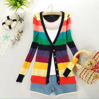 Wholesale New casual Women Sweater Colorful Stripes Rainbow V neck Knitted female tricotado Cardigans Sweaters For Women Outerwear