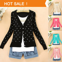 Cheap Wholesale-2015 Sweater Women Fashion Cardigan for Women Coat Slime Love Heart Jackets Knitted Woman Family Outerwear Knitted Sweater coat