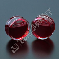 Wholesale Promotion Pair Red Liquid Blood Ear Gauges Acrylic Ear Plug Earrings Gauges Body Piercing Jewellry Pircing Mixes Size