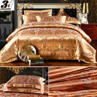 Cheap Wholesale-Silk Cotton luxurious bedclothes king queen size bedspread Comforter duvet quilt cover bed sheet pillowcase 4pc bedding set gold