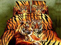 Wholesale Home textiles Bedding Set D Bedding Sets Tiger Animal Print Bedclothes Comforter Duver Quilt Cover King Size Bed Linen