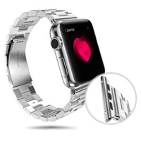 Cheap Wholesale-Luxury For Apple Watch Band 38mm 42mm Stainless Steel Metal Band Strap Clasp Adapter Watch Replacement Watchbands Buckle Wrist