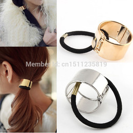 Wholesale Fashion Cool Metal Circle Hair Cuff Band Tie Elestic Ponytail Holder Silver Gold PXfEo